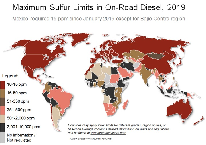 Maximum On-Road Diesel Sulfur Limits (2019)